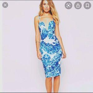 Blue and white midi bodycon dress